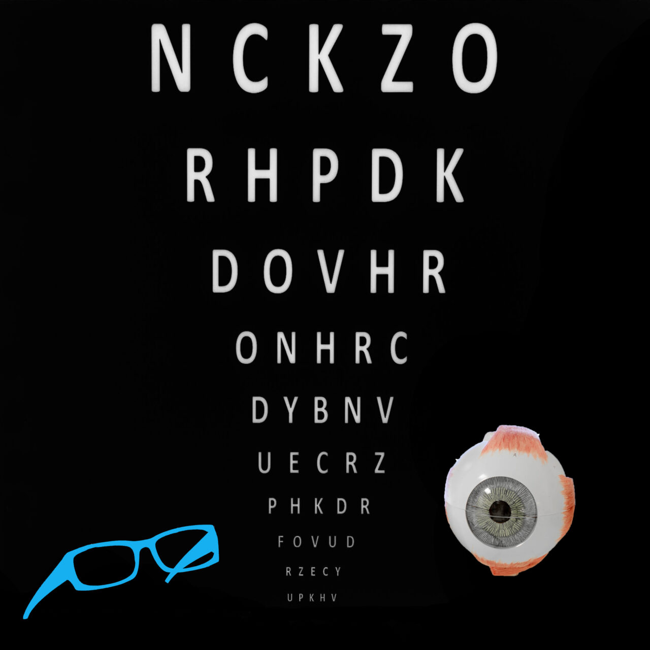 vision-test-chart-with-glasses-and-model-eye