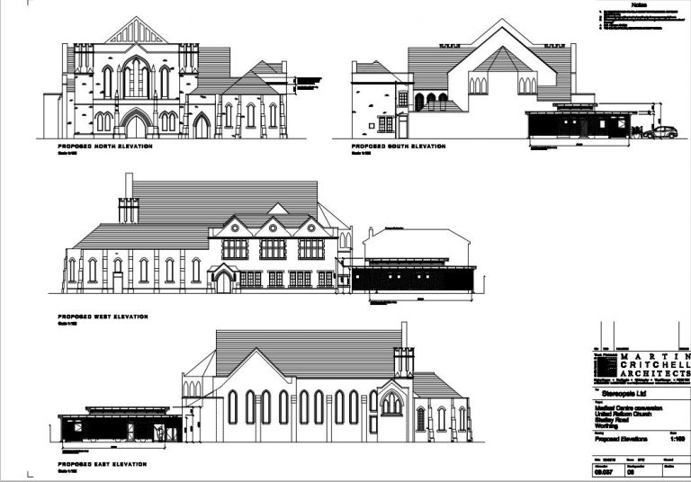 elevation-plans-drawn-by-architect-at-conversion-of-church-to-hospital